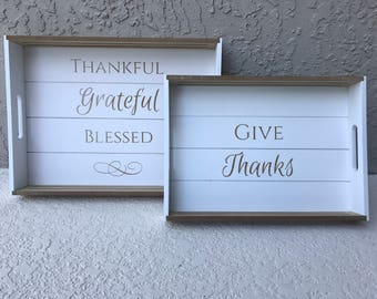 Thanksgiving Rectangular Decorative Serving Tray for Fall Season Give Thanks Thankful Grateful Blessed