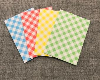 Gingham patterned coloured mini envelopes - Handmade   Set of 4 [Pack of 8]