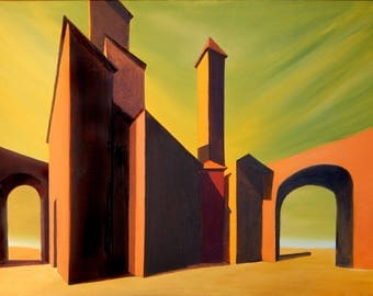 """Set of Digital Download-download be framed oil painting on canvas-limited edition-subject """"surreal 11 Buildings"""""""