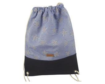 LeKo-Design-handmade turn bag, backpack, canvas cork star Blue