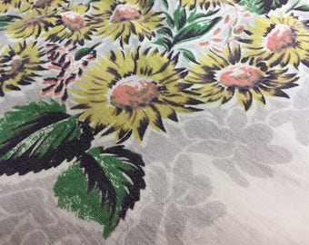 Vintage Hardy Craft Original Yellow Floral Tablecloth with Gray and White Background   1950s Retro Tablecloth   Vintage Linen Tablecloth