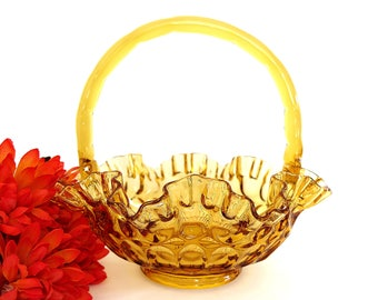 Vintage Fenton Amber Glass Basket Colonial Thumbprint Pattern Crimped Edge