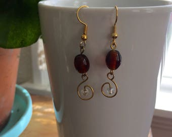 Gold Wire Drop Earrings with Glass Beads