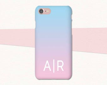 Pink Blue Monogram iPhone Case, Personalized Initials iPhone 7 Case, iPhone Custom Case, Personalized iPhone Case, Custom iPhone Case 6 7 6S