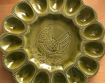 Beautiful vintage deviled egg platter ceramic