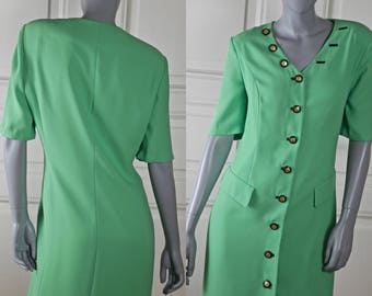 German Vintage Midi Dress, Green Short-Sleeve European Summer Knee-Length Button-Down Dress: Size 12 US, Size 16 UK