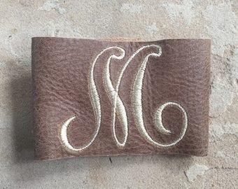 Letter M Monogram Leather Cuff Bracelet
