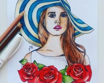 Painting of Lana Del Rey