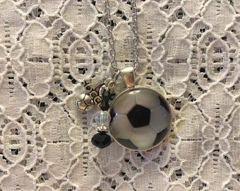 I Love Soccer Charm Necklace/I Love Soccer Jewelry/Soccer Jewelry/Soccer Fan Jewelry/Soccer Ball Necklace