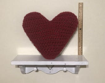 Handmade Crochet Heart Pillow Red