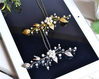 Bridal Hair Clip, Crystal Comb, Wedding Comb, Wedding Hair Pins, Flower Hair Pins, Bridal Hair Pins, Wedding Headpiece, Gold Hair Pins