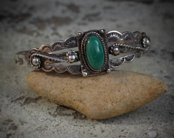 True vintage Fred Harvey era 1930's Navajo turquoise and silver cuff, bracelet, old pawn jewellery