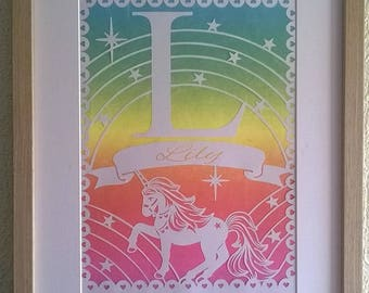 Personalised, Unicorn, Papercut, Rainbow, Mystical, Framed Papercut, Fantasy, Nursery, Baby Girl.