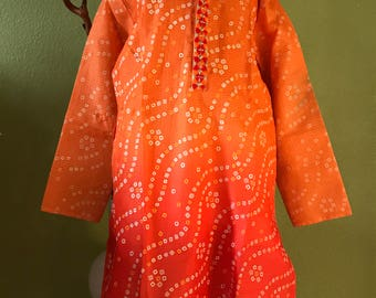 Orange and red Bandhej kurta pyjama