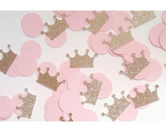 Pink and Gold Confetti, Crown Confetti, Princess Birthday Party, Gold First Birthday