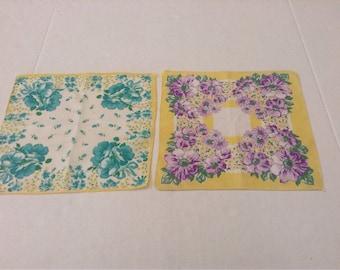 Vintage Handkerchiefs / Bright Yellow