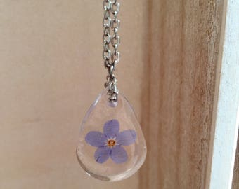 Forget Me Not Necklace, Forget Me Not Jewellery, Floral Jewellery, Forget-Me-Nots, Teardrop Pendant