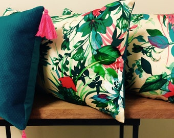 BARGAIN SALE!!!! 20% OFF Trio Pack - Striking Tropical, Floral (2 x 55x35cm) and Teal Velvet (1 x 45x30) Cushion Covers