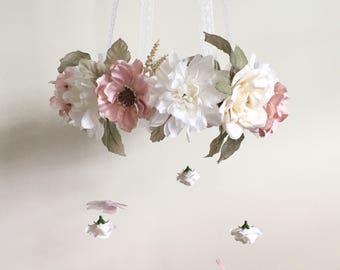 Flower Mobile, Nursery Mobile, Baby Girl Mobile, Floral Mobile, Pink Mobile, Nursery Mobile, ivory mobile
