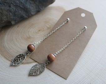Silver and Wood Drop Earrings, Bohemian Jewelry, Valentine's Day Gift