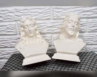 Vtg 1972 Holland Mold Jesus and Virgin Mary Busts Figurines