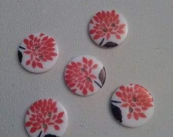 Resin flowers Japanese identical nine 5 buttons