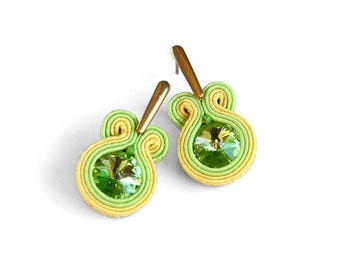 Bright post earrings, yellow green earrings, small summer earrings, gift for her, woman gift, embroidered earrings, soutache earrings