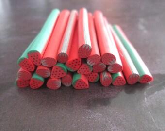 X 1 cane polymer clay Strawberry pattern # 2 dimensions: 50 x 5 mm