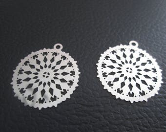 2 prints / charms rosette 28 x 26mm stainless steel