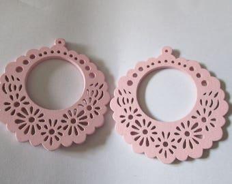 prints 2 flowers, wood beads rosewood 57 mm