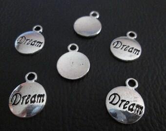 5 Breloques symbole dream 16 x 12 mm en métal argenté