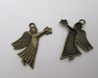 2 Angel charms and star metal bronze 28 x 20 mm