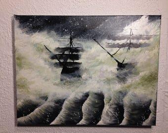 Ships Sailing Through Green Mist
