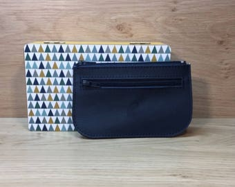 Navy blue leather card wallet