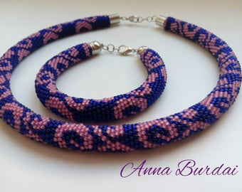 Violet necklace Jewelry set Crochet bead jewelry Beaded rope Women gift Seed bead necklace Beadwork necklace Knot necklace Violet bracelet