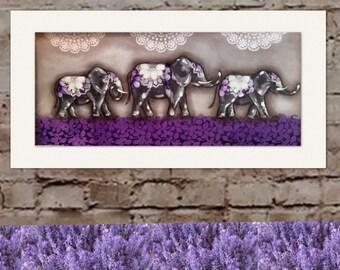 Purple elephant trail painting 1200mm-600mm