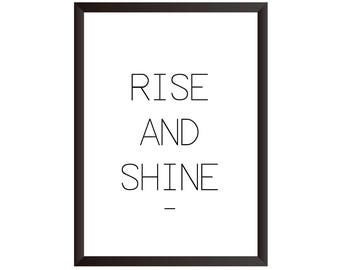Rise And Shine Wall Print - Wall Art, Home Decor, Bedroom Print, Bed Print, Rise and Shine Print