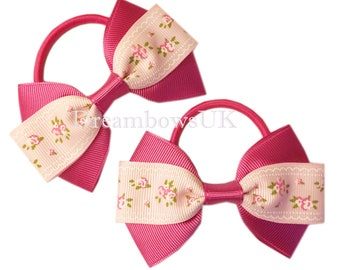 Pink floral grosgrain ribbon hair bows on thick bobbles, girls floral hair accessory bows, summer floral hair bobbles, hair elastics