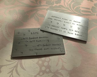 PERSONALISED  WALLET INSERT handstamped credit card Fathers' day anniversary engagement wedding valentines day
