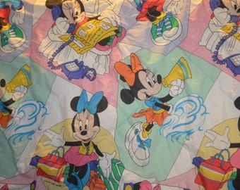 Vintage Minnie Mouse Twin Size Comforter Bedspread Reclaimed Bed Linen -