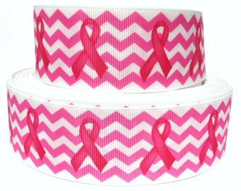 """GROSGRAIN RIBBON 1.5""""  Breast Cancer Awareness Waves  - BB7  - By the Yard"""