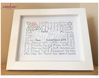 Personalised Handwritten Word-art Frame (Large with mount)