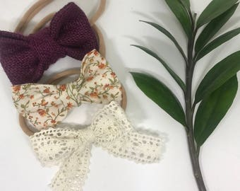 Baby Bow Set   Baby Floral headbands -Baby Headband - Baby Girl Headband - Baby Girl Bow - Toddler Headband - Baby Bow - Nylon Headbands -