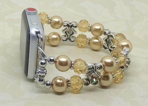 """Apple Watch Band, Women Bead Bracelet Watch Band, iWatch Strap, Apple Watch 38mm, Apple Watch 42mm, Amber Crystal  Pearl 6 3/4"""" - 7"""""""