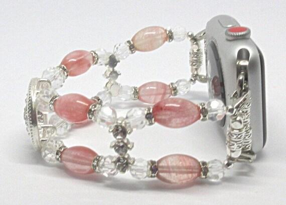 Watermelon Pink Glass Beads Size 7 1/4 - 7 1/2 Apple Watch Band, Women Bead Bracelet Watch Band, iWatch Strap, Apple Watch 38mm, 42mm