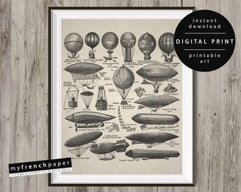 Antique Hot Air Balloon Print, French Hot Air Balloon Poster, Hot Air Balloon Art Print Hot Air Balloon Nursery Print Hot Air Balloon Decor
