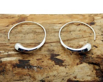 Sterling Silver Teardrop Hoop Earrings (NA27)