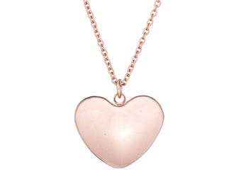"""Stainless Steel Puffed Heart Rose Gold-IP Plated Pendant Necklace 18"""" Chain"""