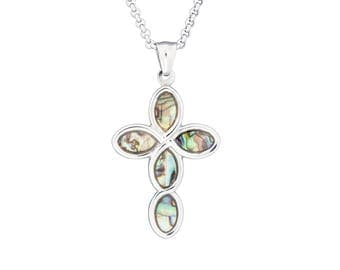 "Silver-Tone Cross Necklace Pendant with Mother of Pearl Abalone Inlay in Stainless Steel, 18""-24"" Chain"