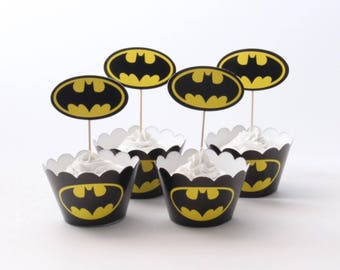 Batman Cupcake Toppers and Wrappers